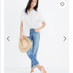 Madewell daisy embroidered courier shirt Medium